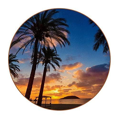 "Aislamiento térmico de Posavasos Mallorca Sunrise en Magaluf Palm Anova Beach Tapete para Taza de Bebida 6PCS 4.3 ""para Bebidas Proteger Muebles y Mesa"