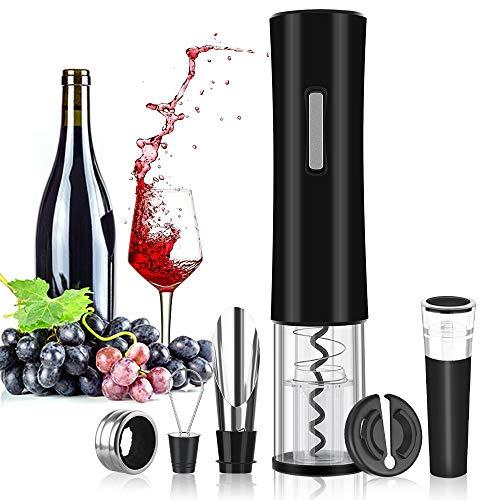 Rovtop Elektrischer Korkenzieher Automatischer Weinflaschenöffner aus Edelstahl mit Folienschneider, Wein Stöpsel, Weinausgießer und Weinring (Batterien Nicht enthalten)