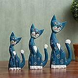 LHQ-HQ Resina casa de madera gatito estatua set gato escultura animal joyería accesorios para el hogar escritorio casa cafetería club azul decoraciones arte arte arte