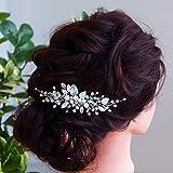 Chargances - Peine para novia, color azul zafiro ópalo peine de pelo para boda con diamantes de imitación azul real, peine para el pelo de novia, regalo para mujeres y niñas