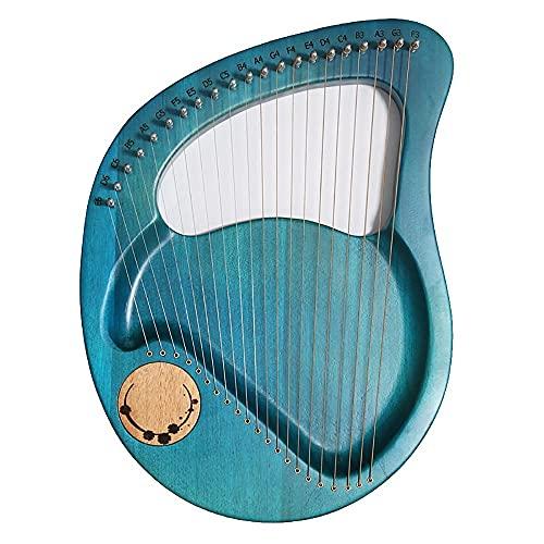 21 strängad lyre harp, mahogny massivt trä stränginstrument, med stämningsnyckel, reservsträng, engelsk instruktionsmanual, för vuxna barn nybörjarälskare (färg: blå)