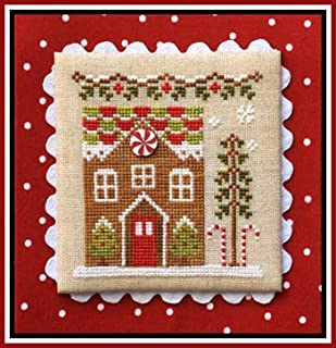 Gingerbread Village 3-Gingerbread House 1 Cross Stitch Chart and Button