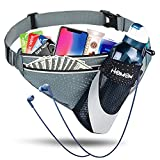 Running Belt with Water Bottle Holder, Fanny Pack for Running, Waterproof Running Belt for Women Men Lightweight Waist Pack Phone Holder for Running Walking Jogging Cycling Camping Climbing Outdoor Sports Hiking (Grey)