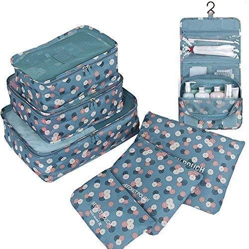 GCBTECH Nylon Reisegepäck Organizer Taschen Kofferorganizer Kulturtasche Kulturbeutel zum Aufhängen Kosmetiktasche Waschtasche Reisetasche 7-er Sets (Blaue Blümchen)