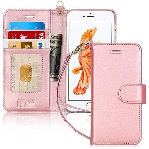 FYY CoqueiPhone 6S Plus, Coque iPhone 6 Plus, [Rose Or] Étui en Cuir de première qualité avec Coverture Toute-Puissante pour iPhone 6S Plus/6 Plus Rose Or