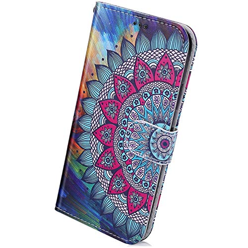 Herbests Kompatibel mit Huawei P40 Lite Handyhülle Leder Hülle Bunt Motiv Muster Leder Flip Schutzhülle Tasche Wallet Case Kartenfach Standfunktion Magnetverschluss,Blau Mandala Blumen