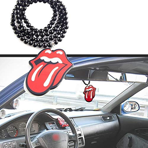 Xotic Tech Car Pendant Cool Decoration Rolling Stones Logo Tongue and Lip Rearview Mirror Hanging Charm Dangling Beaded Pendant for Car Auto