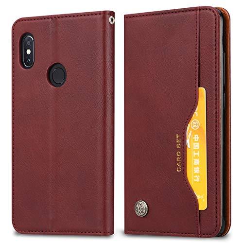 Funda de piel para teléfonos móviles con textura de piel para Xiaomi Redmi 6 Pro/Mi A2 Lite, con marco de fotos, soporte y ranuras para tarjetas y funda tipo cartera (color rojo vino)