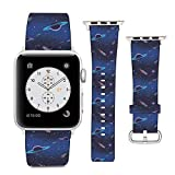 Compatible with Apple Watch Wristband 38mm 40mm, (Rockets and Solar System Planets) PU Leather Band Replacement Strap for iWatch Series 5 4 3 2 1