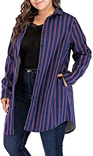 Wwucaihufafa The new women's winter plus thick velvet jacquard stripes loose long-sleeved single-breasted jacket lapel (Color : Blue, Size : 5XL)