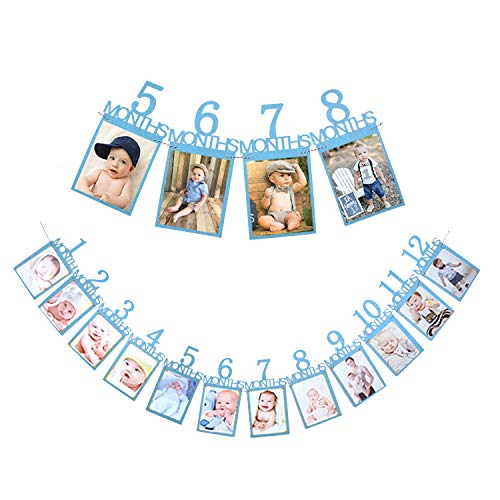 Qibote 1st Birthday Bunting Garland Baby Photo Banner Baby 1-12 Month Photo Prop Party Bunting Decoration
