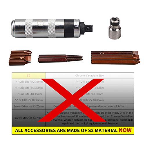 AKM Hand Manual Reversible Impact Driver Set Extractor-12 PCS Impact Screwdriver S2 Steel Much More Durable Disengage Rusted Fasteners or Frozen Bolts (1/2
