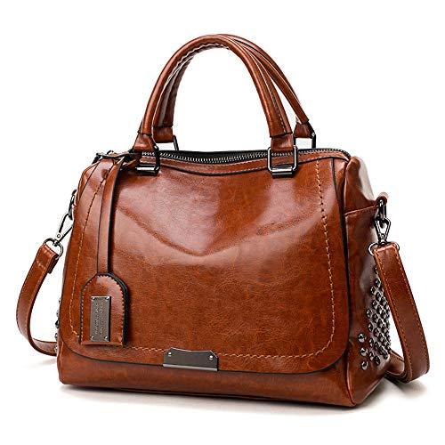 Tasche Für Frauen Ledertasche Handbag Elegant Damentasche Umhängetasche Messenger Bag Handtasche Shoulder Bags Kuriertasche Mode Feste Nietabdeckung Crossbody Tasche Leisure bag (FREE, Braun)