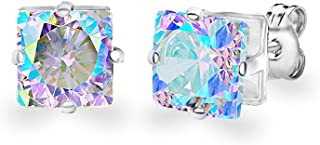 18KT White Gold Plated 8mm Gemstone Crystal Princess Cut Cubic Zirconia Cartilage Stud Earrings Set For Women