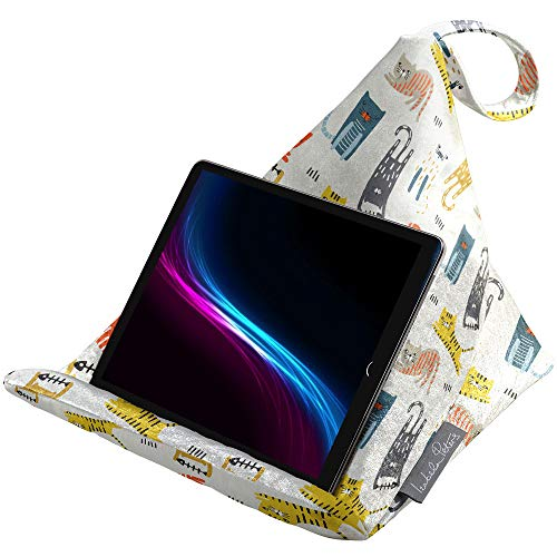 Izabela Peters Designer Bean Bag Cushion Pillow Holder Stand for iPad, Tablet, Kindle, Phone - Supports Devices At Any Angle - Luxurious Shimmer Velvet - Silver Grey - Pampered Cats