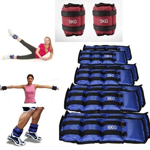 takestop® Coppia Pesi 5KG Totale (2.5kg cadauno) per Caviglie Polsi Sport Fitness CAVIGLIERE Palestra Riabilitazione Colore Casuale