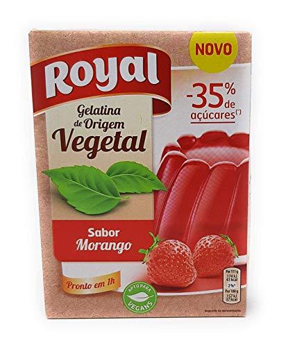 Royal Gelatina Vegetal - Sabor Fresa - menos 35% Azucar - 2 sobres de 55g - Total: 110g
