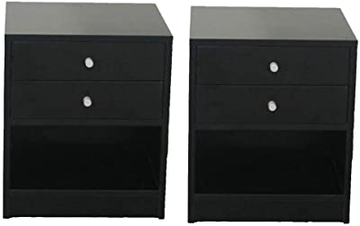 Set Of 2 Bedside Table Nightstand Bedroom Storage Cabinet Night Stand 2 Drawers-Night stands for bedrooms-Bedside table-Night stand-Side tables bedroom-Night stands-Tall nightstand-Nightstands bedroom