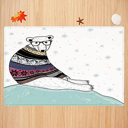 Alfombra de baño Antideslizante,Oso, Oso Polar Inconformista con suéter Estilo Fair Isle Sentado sobre el Hielo Copos de Nieve na Apto para Cocina, salón, Ducha (50x80 cm)