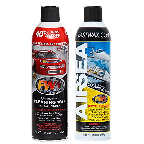 FW1 Wash & Wax Polish with Carnauba + FW1 AIR & SEA Waterless Cleaning Wax by FW1 Fast Wax (1 set (2-cans))