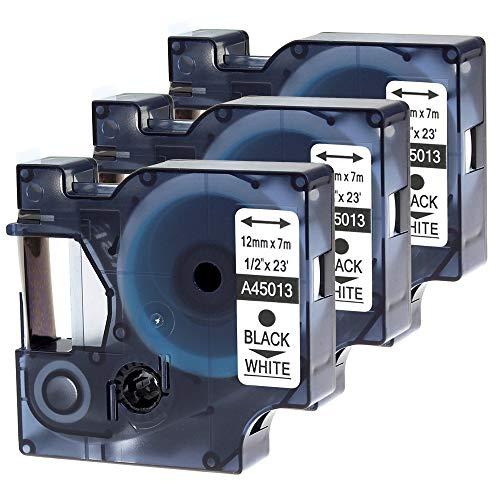 Wonfoucs kompatible Etikettenband als Ersatz für Dymo 45013 S0720530 12mm Schwarz auf weiß für Dymo LabelManager 160, 210D, 260P, 360D, 420P, 500TS (12mm x 7m, 3er Pack)