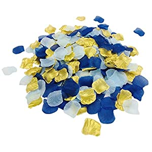 zorpia 1200 Pieces Mixed Navy Blue &Light Blue & Gold Rose Petals Artificial Flower Silk Petals for Valentine Day Wedding Flower Decoration
