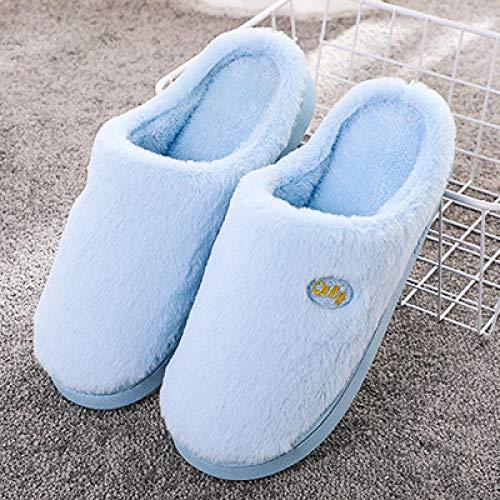 Nwarmsouth Invierno Memory Foam Casa Zapatos,Zapatos de Invierno de algodón de Suela Gruesa, Pantuflas cálidas para el hogar-Lago Azul_37-38,Zapatillas de Hombre Durables y cómodas