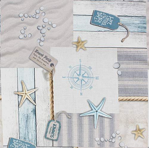 Nappe Beach lavable et anti-tâches, imprimé de motifs marin dans des tons harmonieux de brun, beige et bleu, passepoil brun, 100% polyester