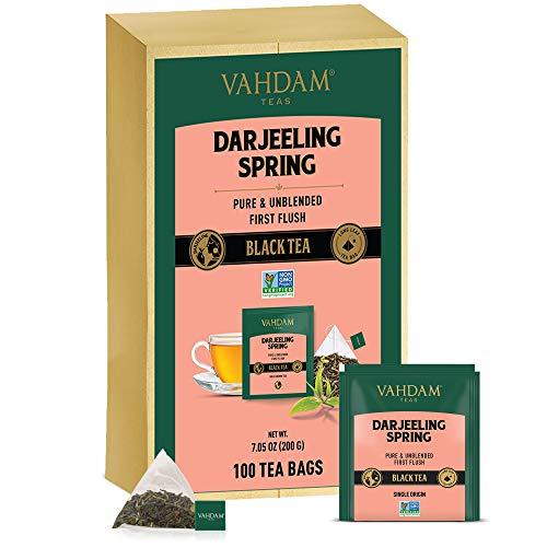 VAHDAM, Exotic Darjeeling First Flush Tea Leaves, 100 Count, Long Leaf Pyramid Darjeeling Tea Bags, Aromatic & Flowery, 100% Pure Unblended First Flush Darjeeling Tea, Packed in India
