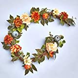 The Lakeside Collection Harvest Season Lighted Garland with Decorative Blue Pumpkin Accents