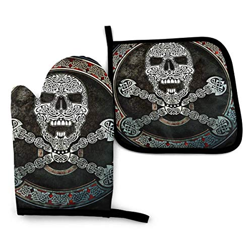 Celtic Skull Crossbones Novelty 2 Piece Home Kitchen Accessories Oven Mitt and Pot Holder Set for BBQ Cooking Baking Grilling Barbecue Gift Printing Funny Themed