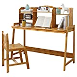 UNICOO - Bamboo Height Adjustable Kids Desk and Chair Set, Children Desk, Kids Study Table and Chair Set (Nature - 02)