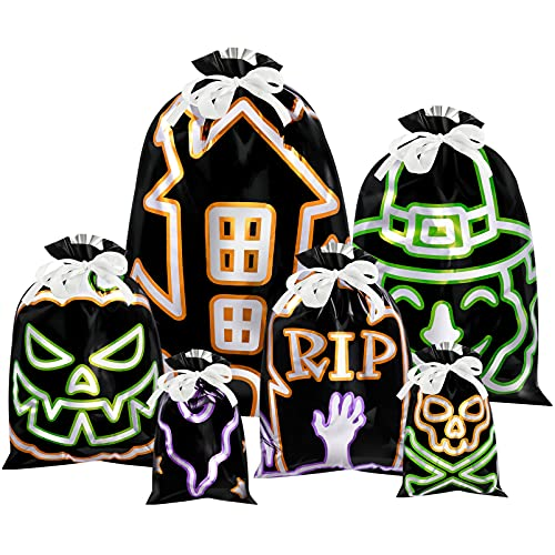 PRETYZOOM 30PCS Halloween Kordelzug Tasche Schwarz Leuchtenden Candy Taschen Trick Oder Behandeln Taschen Kunststoff Goodie Bags für Kinder Halloween- Party Favor Supplies