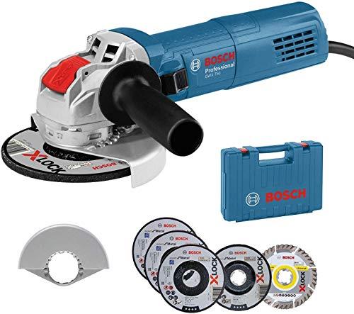 Bosch Professional Smerigliatrice Angolare GWX 750-125 (disco Ø 125 mm, incl. set di dischi da taglio e da sbavo a 5 pezzi, coperchio di protezione 125 mm, in valigetta, Edizione Amazon