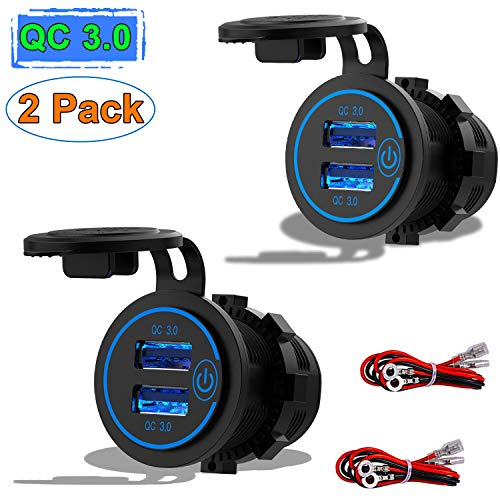 [2 Pack] 12V USB Outlet, Quick Charge 3.0 Dual USB Power Outlet with Touch Switch, Waterproof 12V/24V Fast Charge USB Socket DIY Kit for Car Boat Marine Bus Truck Golf Cart RV Motorcycle etc.