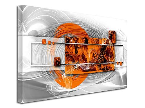 Declina, Cuadro decorativo de pared para salón, lienzo impreso, cuadro decorativo, lienzo abstracto blanco, efecto 80 x 50 cm, color naranja, Lona, naranja, 80x50 cm