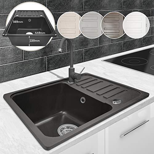 Spülbecken - Granit, ca. 56,9x 44,9 cm, mit Abtropffläche, Rechteckig, Reversibel, Gesprenkelt, in 5 Farben - Küchenspüle, Einbauspüle, Spüle, Verbundspüle, Küchenspüle (Schwarz)