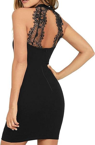 Pogtmm Kleid Ruckenfrei Damen Sexy Spitzen Sommerkleider Elegantes Cocktail Kleider Schwarz Xl Amazon De Bekleidung