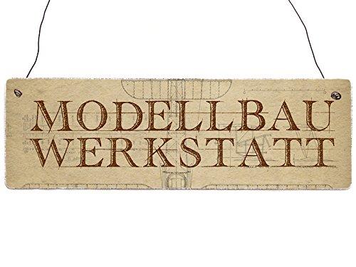 Interluxe Holzschild Dekoschild Modellbau Werkstatt Türschild Modellflieger Geschenkidee