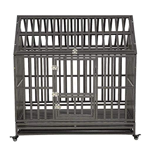 KELIXU Heavy Duty Dog Crate Strong Metal Pet Kennel Playpen with Two Prevent Escape Lock, Large Dogs Cage with Four Wheels 48 INCH Black