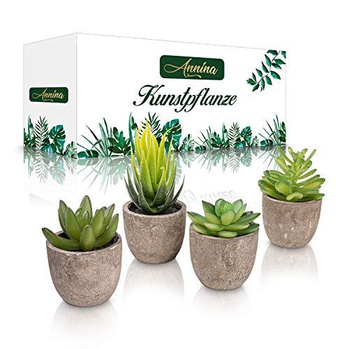 Annina®️ Kleine Kunstpflanze – [4] Stück künstliche Sukkulenten - Pflanzen aus Kunststoff mit robusten Topf – Perfekte Größe - Deko für Büro, Wohnzimmer, Schlafzimmer, Badezimmer, Küche