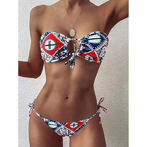 Traje de baño Sexy Bikini Bandeau Traje De Baño Mujer Traje De Baño Mujeres Mini Tanga Bikinis Set Bañista Natación Ropa De Playa para Mujer Traje De Baño S Blanco