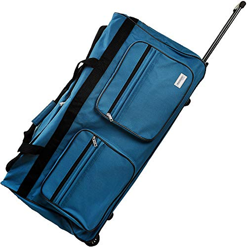Deuba Travel Duffel Luggage Bag XL 160L Wheeled Gym Sport Camping Large Lightweight Suitcase Duffle Telescopic Handle (Blue)