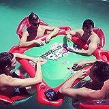 Mesa Hinchable de Agua Mahjong Estanque Flotante de la Mesa de póker del Mahjong de la Mesa Hinchable con 4 Asientos flotantes para Pool Party para Jugar En La Piscina,with Foot Pump