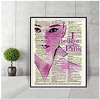 オードリー・ヘプバーン私はピンクの壁のアートポスターと版画を信じています新聞部屋の装飾絵画壁の辞書アート絵画-60x80cmフレームなし