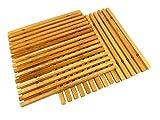 Set di 2 sottopentola da cucina flessibili in bambù, 18,5 cm x 18 cm x 0,5 cm, resistenti al calore, 100% naturali e decorativi, tappeto caldo per tavolo e sala da pranzo