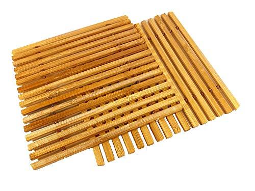 Set de 2 Dessous de Plat de Cuisine Flexibles en Bambou 18,5 cm x 18 cm x 0,5 cm | résistants à la Chaleur | 100% Naturels et Décoratifs | Tapis de Plats Chauds pour Table et Salle à Manger