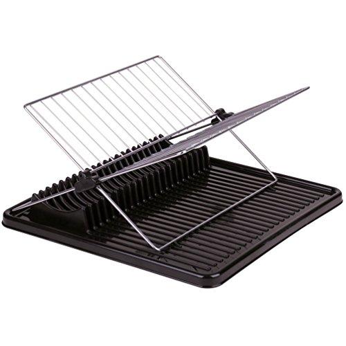 Promobo Geschirr hat Abtropfgitter mit Tablett für Teller Kunststoff und Edelstahl Design Schwarz