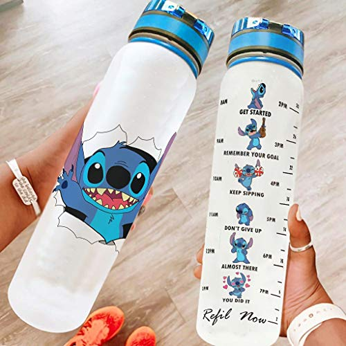YshChemiy Stitch Sport Bottle with Time Marke Measurements Designed BPA Free Tritan Water Bottle with One Click Open Lid Easy To Carry for Men Women Water Jug for Outdoors white 1000ml