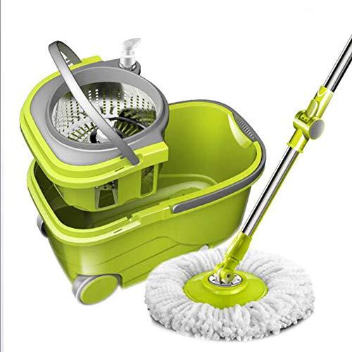 YMN Microvezel Mop en Emmer Set, Snel Gemakkelijk en Hygiënische Vloer Mop, 360 Graden Spinning met Herbruikbare Pads, voor Hardhout, Marmer, Tegel, Laminaat, of Keramische Vloeren, B